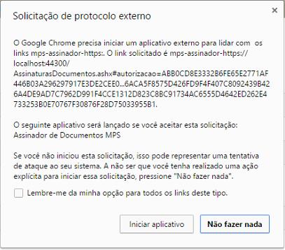 Confirmação no Google Chrome