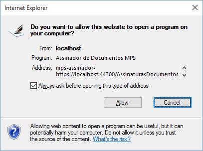 Confirmação no Internet Explorer